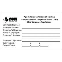 NH3 Retailer Safety Training Certificates/Replacements